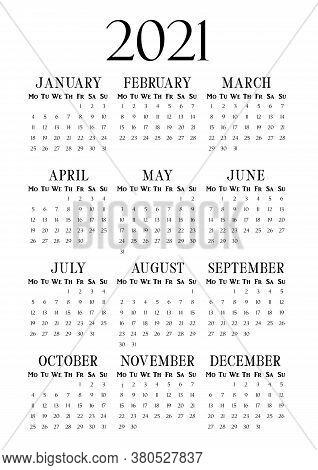 2021 Year Vertical Calendar On A4 Paper Format. Business Wall Calendar Template. 2021 Year By Months