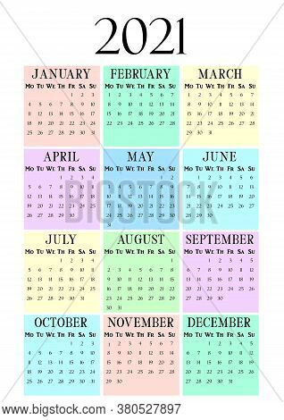 2021 Year Vertical Calendar On A4 Paper Format. Pastel Wall Calendar Template. 2021 Year By Months.