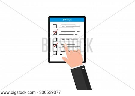 Online Survey Form. Clicking Hand With Checklist. Questionnaire List For Feedback With Finger Tickin