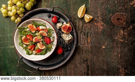 Vegetarian Salad With Figs, Strawberries, Grapes, Blue Cheese Dorblu. Long Banner Format, Top View,