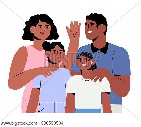 Happy Smiling Family Members Spending Time Together At Home. Mother, Father And Children. Cute Carto