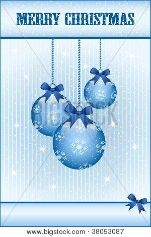 Blue Christmas Balls And Bows