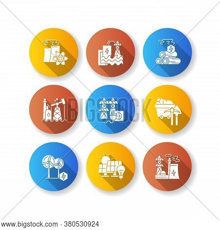 Energy Business Flat Design Long Shadow Glyph Icons Set. Modern Industrial Power Plants. Traditional