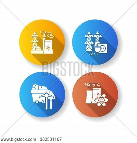 Energy Manufacturing Flat Design Long Shadow Glyph Icons Set. Electric Power Station, Nuclear Reacto