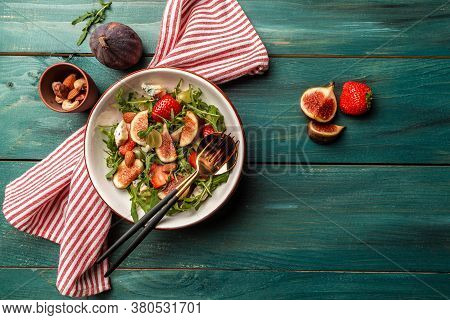 Vegetarian Salad With Figs, Strawberries, Grapes, Blue Cheese Dorblu. Banner, Catering Menu Recipe P