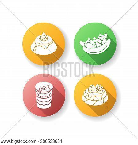 Popular Sweets Flat Design Long Shadow Glyph Icons Set. Italian Panna Cotta. Australian Banana Split