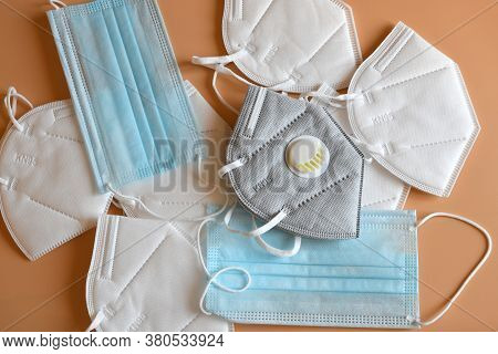 Surgical Mask With Kn95 Or N95 Mask For Protection Pm 2.5 And Corona Virus. Prevention Of The Spread