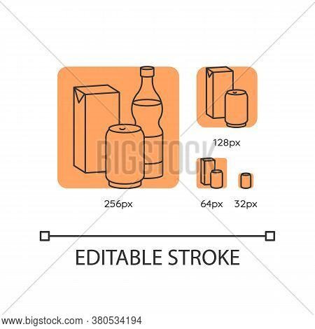 Beverage Orange Linear Icons Set. Sparkling Water In Glass Bottle. Soda In Aluminium Can. Thin Line