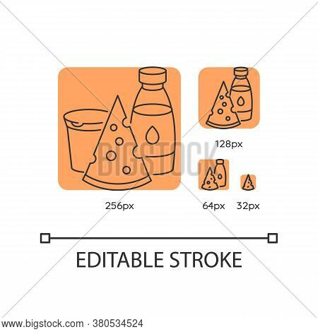 Dairy Orange Linear Icons Set. Cheese Slice. Milk In Glass Bottle. Yogurt In Plastic Container. Thin