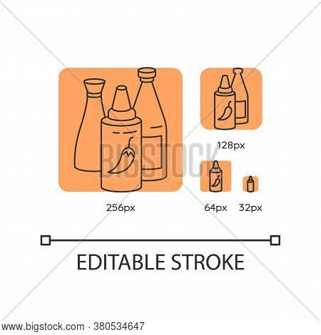 Sauces Orange Linear Icons Set. Ketchup In Bottle. Condiment For Cooking. Recipe Ingredient. Thin Li