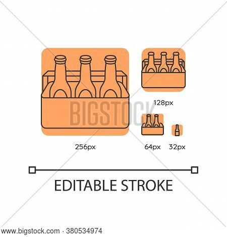 Beer Orange Linear Icons Set. Alcoholic Beverage In Cooler. Booze In Package. Drinks In Box. Thin Li