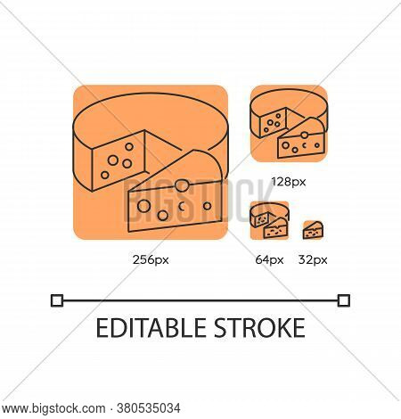 Cheese Orange Linear Icons Set. Dairy Product. Cooking Recipe Ingredient. Milk Based Food Item. Thin