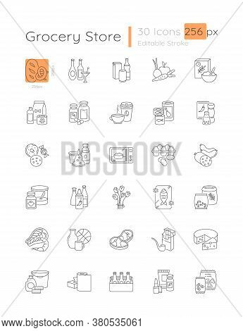 Grocery Linear Icons Set. Various Supermarket Food Sections. Drink Products.customizable Thin Line C