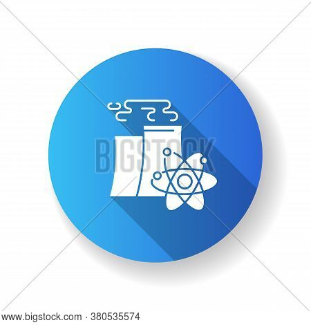Nuclear Industry Blue Flat Design Long Shadow Glyph Icon. Atomic Energy Manufacturing Technology. Mo