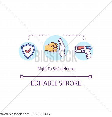 Right To Self Defense Concept Icon. Self Defending Idea Thin Line Illustration. Defensive Force. Pro
