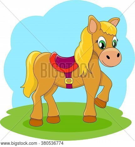Illustration Of Beautiful Cartoon Pony Golden Baby Horse And Cartoon Pony Vector Farm Animal.