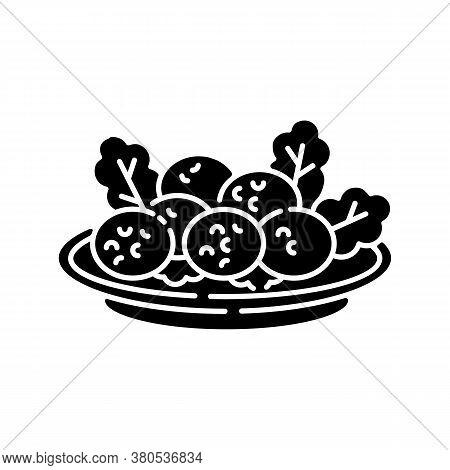 Falafel Black Glyph Icon. Deep Fried Ball Dish. Traditional Eastern Meal. Japanese Tempura. National