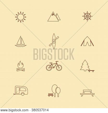 Icon Camping Set. Vector Illustrations With Tent, Bonfire, Mountains, Bike Simbols.