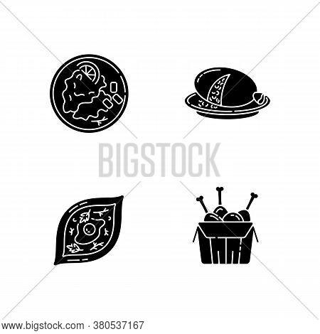 Fast Food Black Glyph Icons Set On White Space. Scottish Haggis. Wiener Schnitzel. Tandoori Chicken.