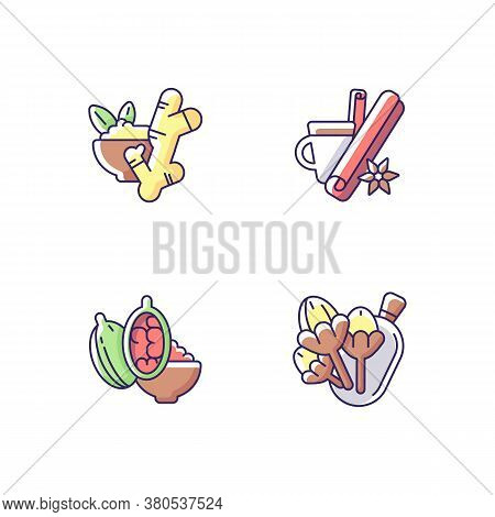 Cooking Rgb Color Icons Set. Mulled Hot Wine Ingredients. Aromatic Flavoring. Cinnamon And Ginger. C