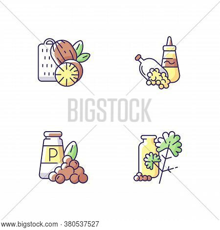 Condiments Rgb Color Icons Set. Food Seasoning. Natural Supplement. Cooking Condiment. Mustard And B