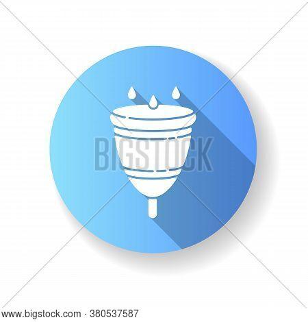 Menstrual Cup Blue Flat Design Long Shadow Glyph Icon. Zero Waste Lifestyle, Menstruation. Feminine