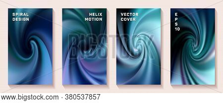 Fluid Gradient Helix Twist Cover Page Templates Vector Set. Fuzzy Brochure Front Pages Collection. P