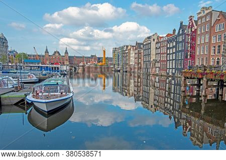 City scenic from Amsterdam with the Central Station in the Netherlands