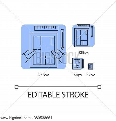 Interior Designer Blue Linear Icons Set. Premises Design, Apartment Architectural Plan. Thin Line Cu