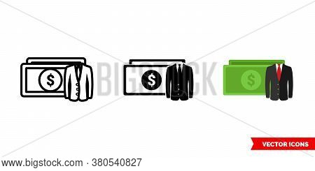 Private Equity Icon Of 3 Types Color, Black And White, Outline. Isolated Vector Sign Symbol.