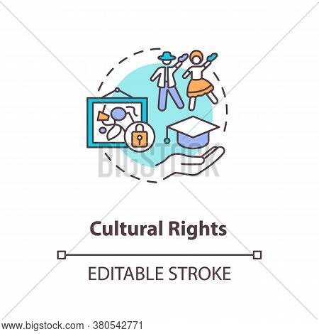 Cultural Rights Concept Icon. Cultural Heritage Protection Idea Thin Line Illustration. Right To Sci