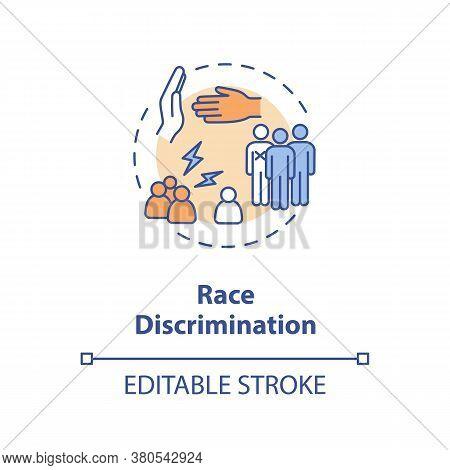 Race Discrimination Concept Icon. Racial Prejudice Idea Thin Line Illustration. Racism. Inequality.