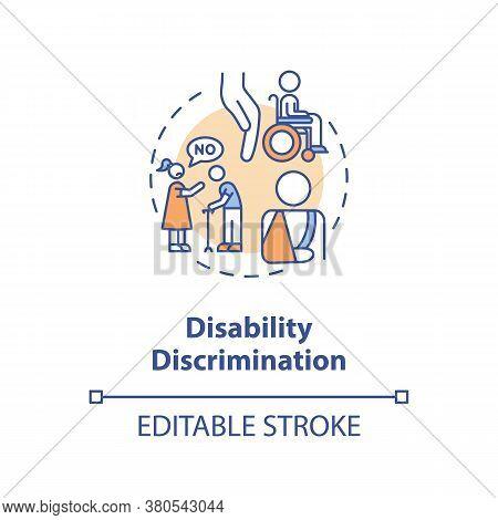 Disability Discrimination Concept Icon. Disabled People Prejudice Idea Thin Line Illustration. Unequ