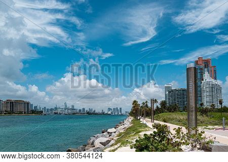 Fishing Pier At South Pointe Park And View Of Skyscrapers In Miami Beach, Florida. Miami Beach Walkw