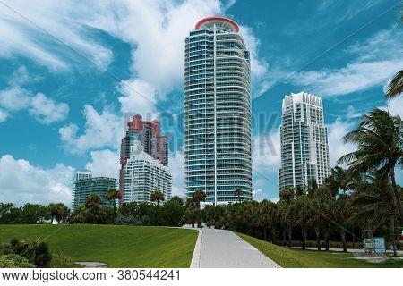 Miami Beach, Florida, Usa - May, 2020: Miami Beach Buildings. Apartments In Skyscrapers. Real Estate