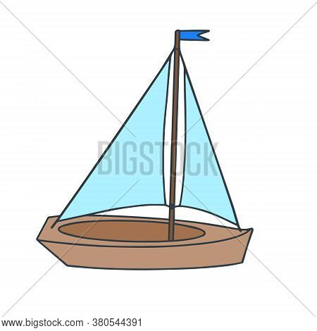 Toy Small Boat Made Of Wood, Isolated On A White Background. Vector