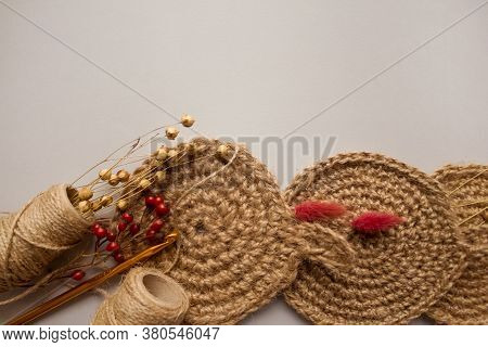 Flat Lay Composition With Natural Body Jute Washclothes Or For Dishes, And Twine Roll - Linen Or Can
