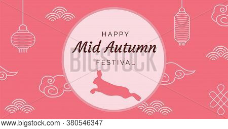 Mid-autumn Festival Illustration With Lanterns And Bunny. Chinese Decoration Elements And Full Moon