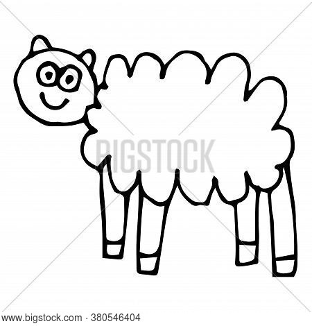 Cartoon Doodle Linear Sheep Isolated On White Background. Farm Animal In Childlike Style. Vector Ill