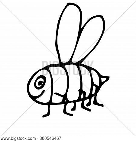 Cute Cartoon Doodle Linear Bee Isolated On White Background. Insect Animal In Childlike Style. Vecto