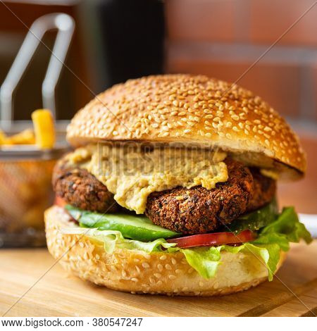 Tasty Vegetarian, Veggie Burger Close Up View
