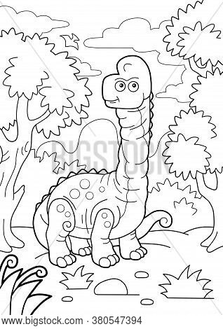 Giant Prehistoric Dinosaur Brachiosaurus, Coloring Book, Funny Illustration