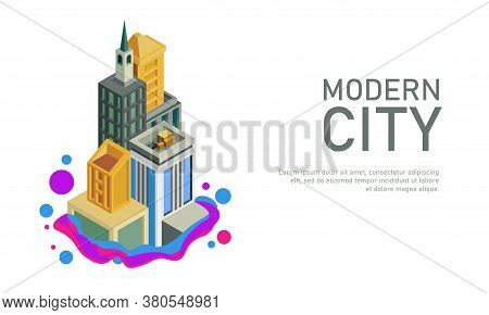 Vector Illustration Of A Skyscraper In Isometric Design. Suitable For The Illustration Of A Fast Gro
