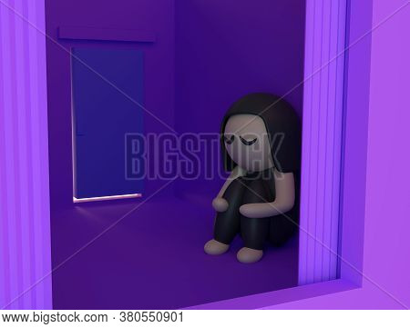 Sad Girl Sitting Alone In An Empty Room. Neglected And Abandoned Concept, Loneliness, Childhood Prob