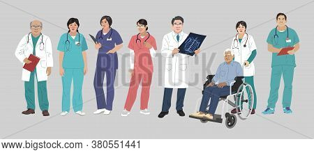 Asian Medics. Chinese Medical Characters. Doctors And Nurses Round Portraits, Team Of Doctors Concep