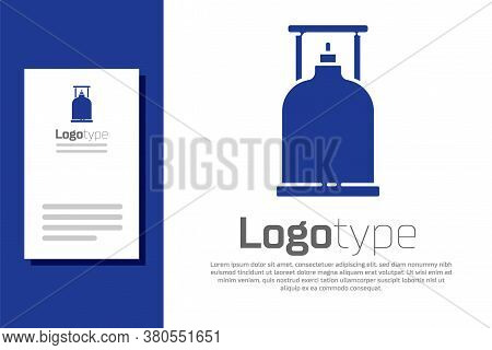 Blue Camping Gas Stove Icon Isolated On White Background. Portable Gas Burner. Hiking, Camping Equip