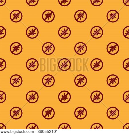 Red Stop Marijuana Or Cannabis Leaf Icon Isolated Seamless Pattern On Brown Background. No Smoking M