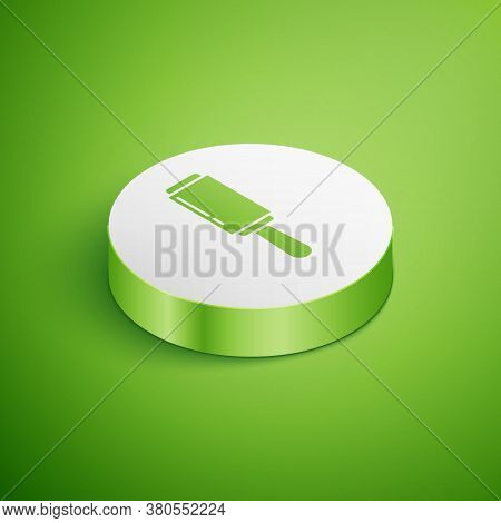 Isometric Adhesive Roller For Cleaning Clothes Icon Isolated On Green Background. Getting Rid Of Deb