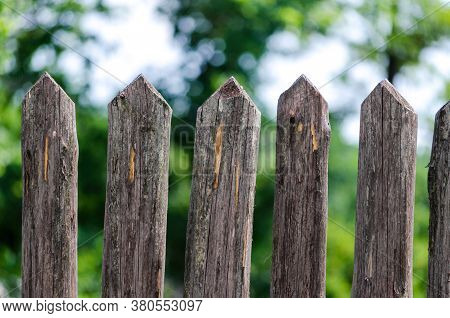 Fence Wooden Stakes On The Farm Close Up