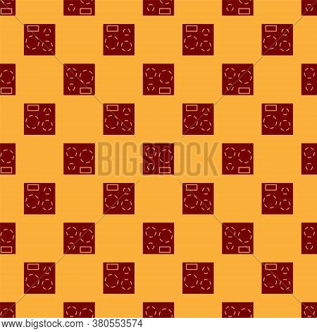 Red Electric Stove Icon Isolated Seamless Pattern On Brown Background. Cooktop Sign. Hob With Four C